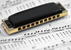 Harp and music score